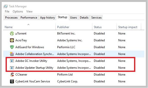 Программа-Adobe-GC-Invoker-Utility-в-автозагрузке