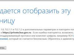 Не удается отобразить эту страницу. Включите TLS 1.0, TLS 1.1 и TLS 1.2 в дополнительных параметрах